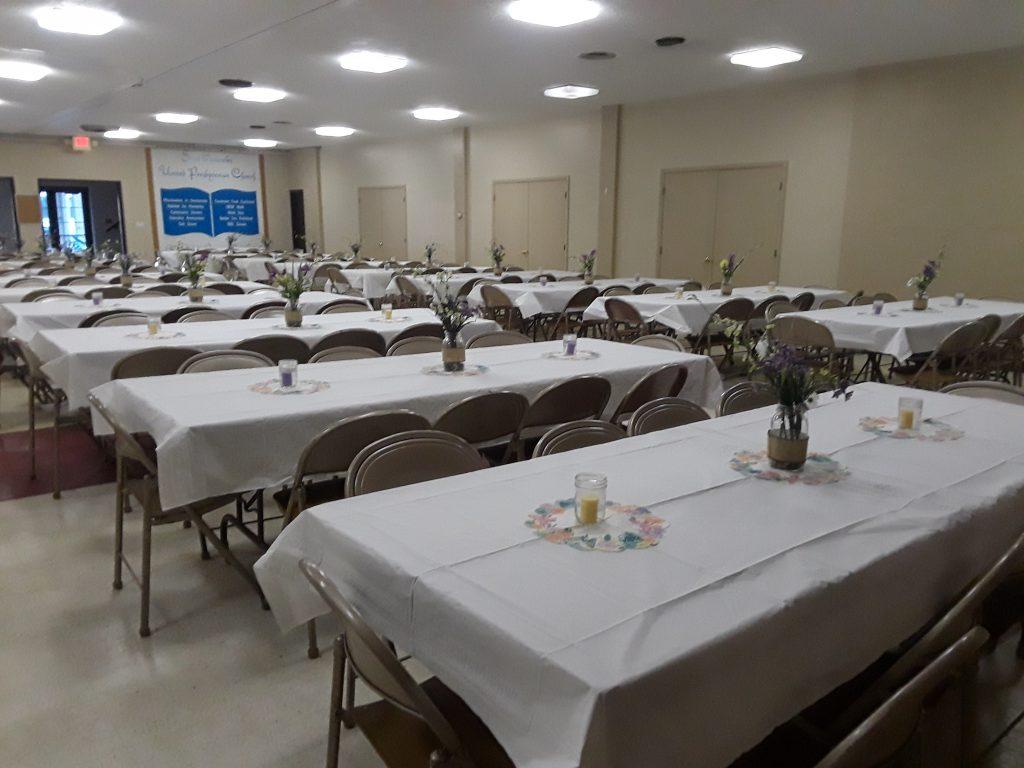 Saint Andrews Facilities setup for a dinner