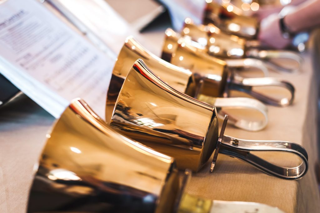 Bells lined up for church music program