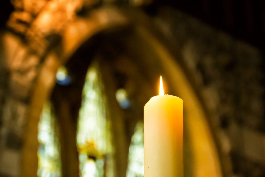 Candle in a beautiful church