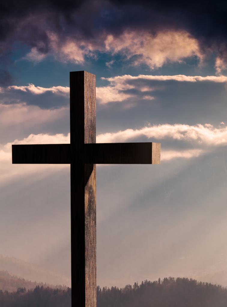 Resurrection cross on a hill